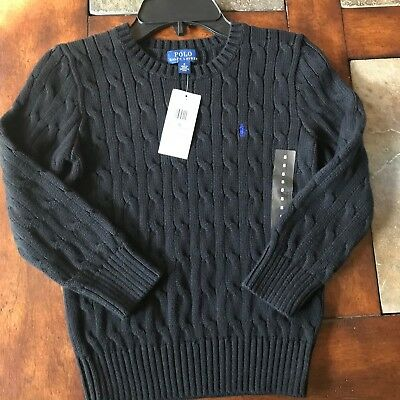 Polo Ralph Lauren boys Polo Black cable knit pullover Pony sweater sizes 5, 7
