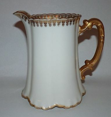 Antique Haviland Limoges Ranson Pitcher, Excellent, Gold Trim. J M & W Westwater