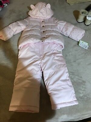 65eb23e6d CARTERS SNOW SUIT Bib Overall Pants Toddler Girl Snowsuit Hot Pink ...