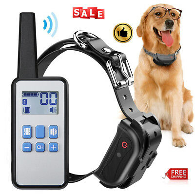 Rechargeable Pet Dog Training Collar Trainer Anti Bark Remote Control Waterproof