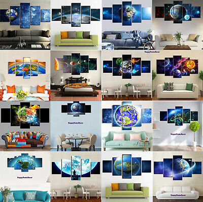 Earth Painting 5 Pcs Canvas Print Planet Poster Wall Art Gift Picture Home Decor