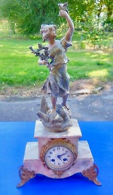 PENDULUM FIREPLACE STATUE signed ROUSSEAU,MOVEMENT signed JAPY FRÈRES
