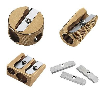 Mobius & Ruppert Solid Brass Pencil Sharpener Single Double Hole Heavy Duty Art
