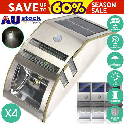 4x Stainless Steel Solar Power 2LED Motion Sensor Garden Outdoor Wall Light Lamp