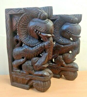 Wall Corbel Pair Wooden Temple Yalli Dragon Bracket Gargoyle Statue Sculpture US