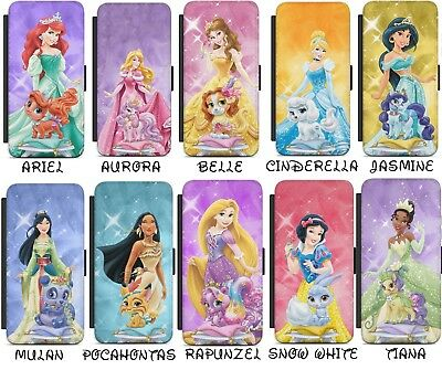 Disney Princess Cartoons Pets Flip Wallet Phone Case Cover For iPhone Samsung