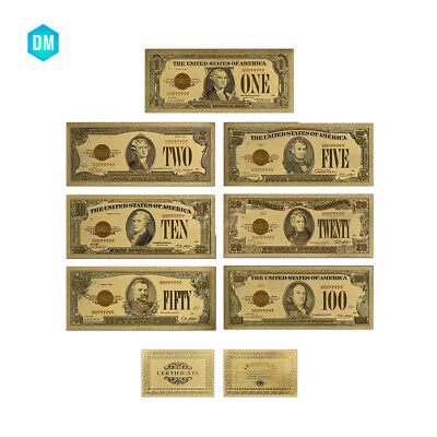 7pcs 1928 Year Gold Banknote Holiday Gifts US Normal Money Set with Certificate