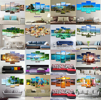 Cool Ocean Painting 5pc Canvas Print Relax Beach Poster Wall Art Gift Home Decor