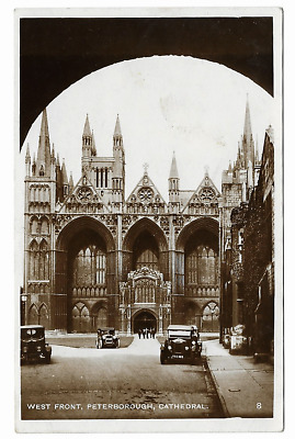 Cambs Vintage RP Postcard of Peterborough Cathedral West Front Posted 1930's