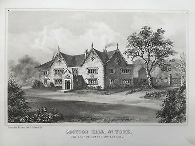 1853 Antique Print; Grotton Hall, Oldham, Greater Manchester