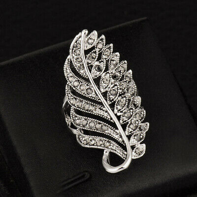 Vintage Black Cubic Zirconia Leaf Finger Rings Women Antique Silver Plated Gift