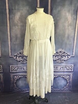 Vintage 1920s Antique White Embroidered Cotton Lawn Dress SMALL Mock Neck Tulle