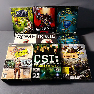 Lot of 9 Big Box Pc Games Rift Endless Ages Dark Age Of Camelot Europa Universa.