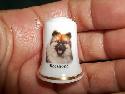 vintage KEESHOND Dog Collectible ceramic Thimble figurine Lim.Edition