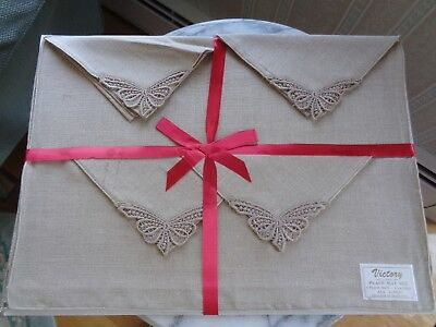 Vintage Victory All Linen Place Mat Set - Never Used