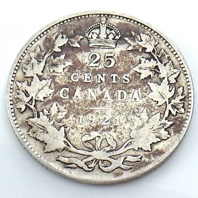 1921 Canada 25 Twenty Five Cents Quarter Silver King George V Canadian Coin G744