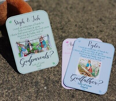 Will You Be My Godmother/Godfather/Godparents Request Magnetic CARD Peter rabbit