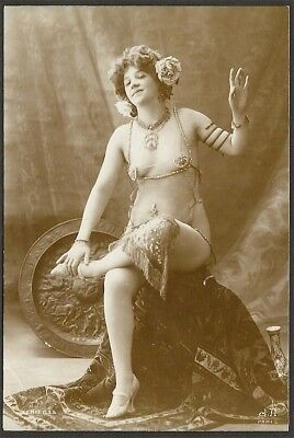 Nude French RPPC Real Photo Postcard Curvy Model Salome Inspired J. Agélou 1900s