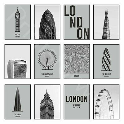 London Print Poster Coordinates Vintage Travel Picture Modern Wall Decor Art