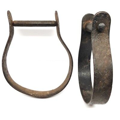 Antique Vintage Pair of Oxbow Stirrups Hand Forged Iron