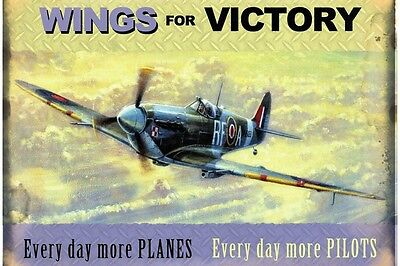 "Wings for Victory Vintage style repo metal wall sign 16"" x 12"""
