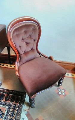 Lovely Victorian Antique Mahogany Nursing / Bedroom Chair Good Used Condition