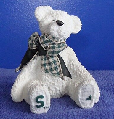 SARAH'S ATTIC MSU Burley Bear Decoration Michigan State University Green White