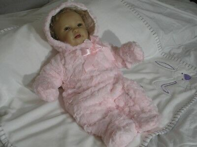 Baby Girls Padded Spanish Style Snowsuit Pink Fur Bow Pink NB  0-3 3-6 months