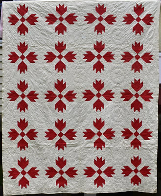 "Antique Red and White ""Bear Paw"" Quilt #18350"