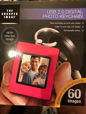 New The Sharper Image Pink Ultra Thin Usb 2.0 Lcd Digital Photo Keychain