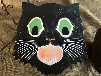 REPRO VINTAGE STYLE Cat Green Eyes and Teeth Halloween Cardstock  Decoration, 8