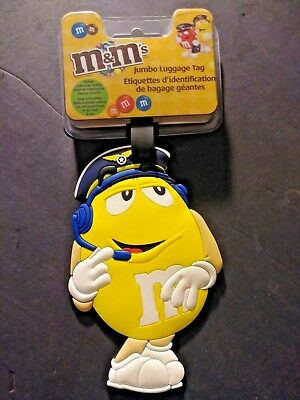 M&M Jumbo Luggage Tag Yellow Pilot Character 2008