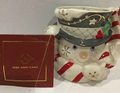 2003 LENOX SNOWMAN VOTIVE Candle Holder FOR THE HOLIDAYS With Box