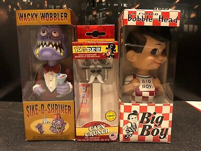 Funko Lot Of 3 Cap'n Crunch Chase Pez, Sike -O- Shriner & Big Boy Wacky Wobblers