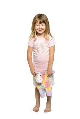 Girls PJs Size 1-7 Marquise Cotton Short Sleeve Pyjamas Pink Unicorn Print