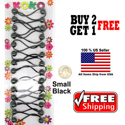 Black Braid Girls Kids Scrunchie Small Beads Hair Tie Ball Ponytail Holder Bands