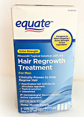 Equate Hair Regrowth Treatment For Men THREE 3 Month Supply 11/19