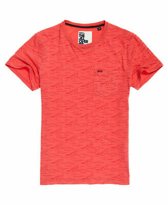 New Mens Superdry Whistler S/S AOP Lit Sunset Pink