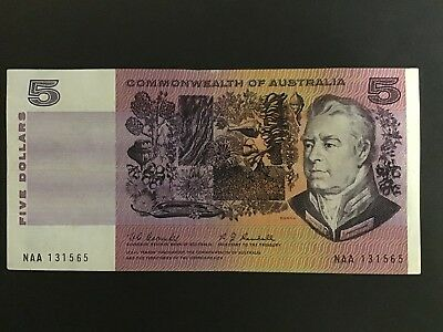 Australia 1967 Coombs Randall First Prefix Banknote Naa First Of $5 Note Printed