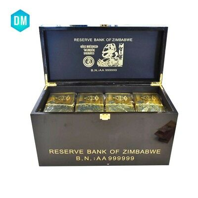 Zimbabwe Wooden Box & 1200 PCS Colored Gold Z$100 Trillion Dollars Banknotes