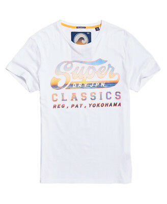 New Mens Superdry Classics Lite T-Shirt Swoosh White