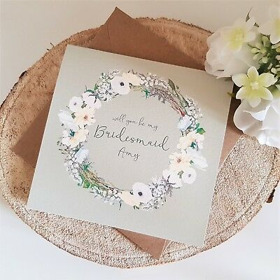 Personalised Will you be my Bridesmaid Card - Maid of Honour Flower Girl etc