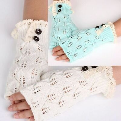 Fingerless Gloves Crocheted Lace Open Fingertip Cable Knit Gray Green Ivory New