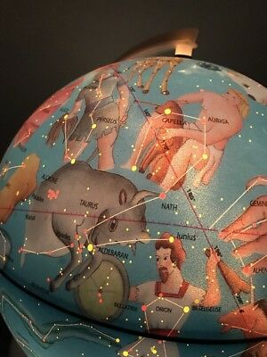 Globe Celestial Illuminated Lamp Vtg Star Constellation Space Classroom Science