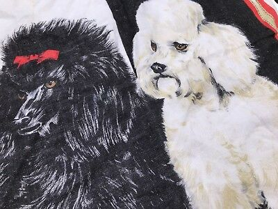 POODLE Black And White Vintage Antique Made In Ireland Pure Linen WALL ART