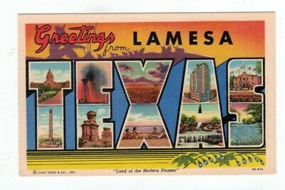 "TX LamesaTexas antique linen post card BIG LETTERS ""Greetings from..."""