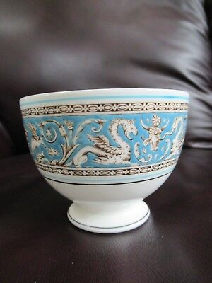 Wedgwood Florentine Turquoise W2614 Footed Open Sugar Bowl Green Logo MINT