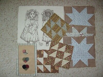 ~ Mixed Lot of 8 ~ Orphan Quilt Blocks ~ Punch Needle Piece ~