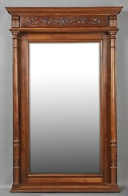 "Large Antique French Henri II Carved Walnut Overmantle Mirror H 74"" x W 40"""