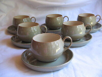 Denby Stoneware Camelot Ridged set of 6 tea coffee cups & saucers Perfect unused